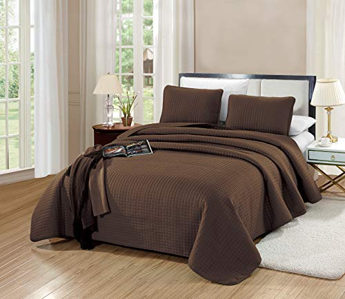 GrandLinen 3-Piece Bedding Florence Quilt Set Solid Chocolate Brown King Size 104