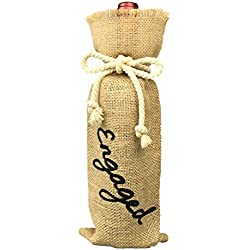 OYAMIHUI Engagement Party Decorations, Burlap Wine Bag Engagement, Burlap Wine Bottle Gift Bag with Painting (Engaged)