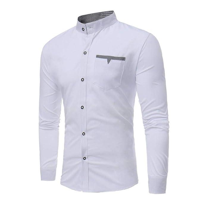 Camisa para Hombre, Winwintom Blusa Casual De Manga Top Sin Cuello De Color SóLido Blusas Suelta Camisas De Trabajo Suave CóModo Transpirable M L XL: ...