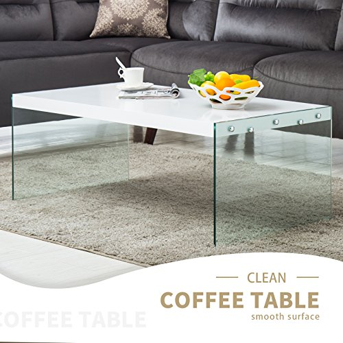 Mecor Rectangle Coffee Table Wood Top Tempered Glass Legs Co