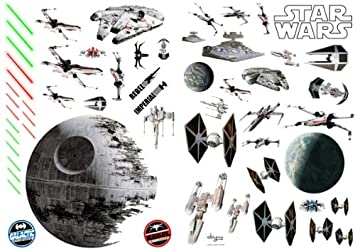 STAR WARS Wall Sticker Set Space Battle Amazoncouk Toys Games - Star wars wall decals uk