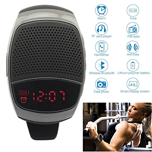 Bluetooth Stereo Watch Speaker Wireless Wristwatch Support TF Card Mp3 Music Player LED Display Stopwatch Alarm Clock with Mic Hands-free FM Radio Self-timer for Men Women Boy Girl Samsung iPhone LG