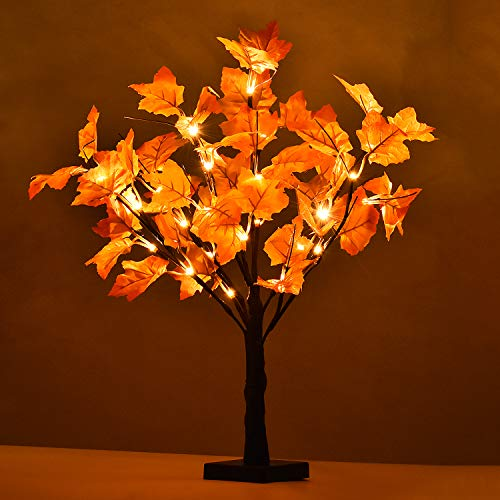 Lvydec Lighted Artificial Fall Maple Tree, 23-Inch Battry Operated Tabletop Autumn Tree for Home Festival Decoration, Warm White Light