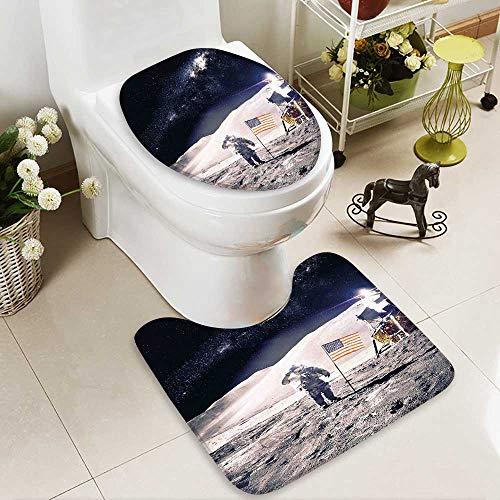 SOCOMIMI 2 Piece Toilet Cover Set Astronaut on Moon American