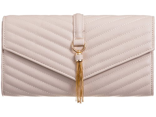 Evening Clutch Envelope Bridal Women's Bag Handbag Quilted Structured Tassel Ladies Beige KL501 qEwZ10Wt