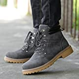 Gyoume Men Calf Boots Winter Lace up Boots Shoes Male Ankle Boots Dress Shoes Hiking Boots