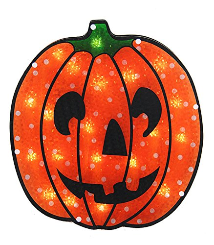 Sienna Lighted Holographic Jack O' Lantern Pumpkin Halloween Window Silhouette, 13