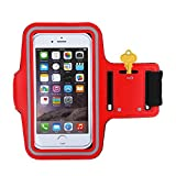 Minisuit Sporty Armband Running Gym Mobile Phone Running Cover Arm Band for Iphone 6 plus/6splus. (Red)