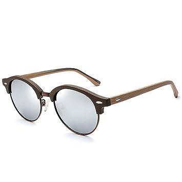 GCC Las Gafas de Sol Cuadro Redondeado imitación Madera ...