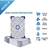 16x30x1 MERV 8 Pleated AC Furnace Air Filters - 6 PACK