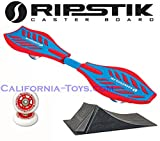 Red/Blue Brights Razor Ripstik Castor Board with PUNK RAMP & Extra Set of 68mm Red RIPSTER Replacement Wheels
