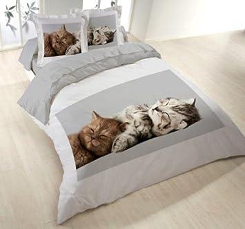 Les Douces Nuits De Mae - Juego de sábanas (funda nórdica de 200 x 200 cm y 2 fundas de almohada), diseño de gatitos: Amazon.es: Hogar