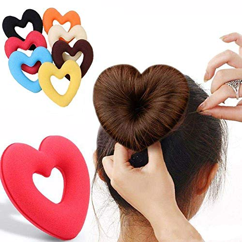 HEART DONUT BUN WRAPS HAIR RING FLOWER BUD CLIP SET HAIR UPDO MAKER HAIRDRESSING