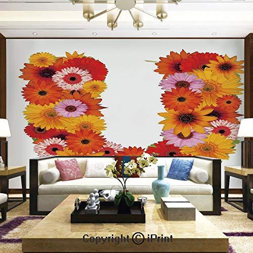 Womens Wildflower Orange Rubber - Lionpapa_mural Wall Decoration Designs for Bedroom,Kitchen,Self-AdhesivePink Orange Yellow Wildflowers Warm Season Plants Romantic Arrangement Letter U Decorative,Home Decor - 100x144 inches