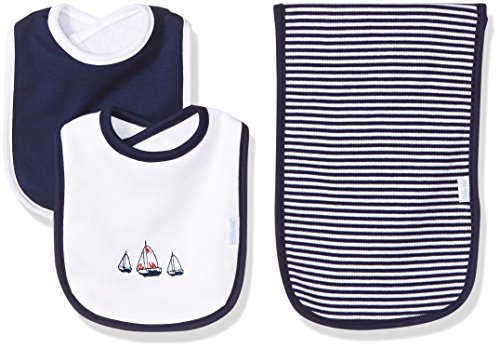 Three Sailboats (Little Me Boys' 3-Piece Bib & Burp Cloth Set, Sailboats)