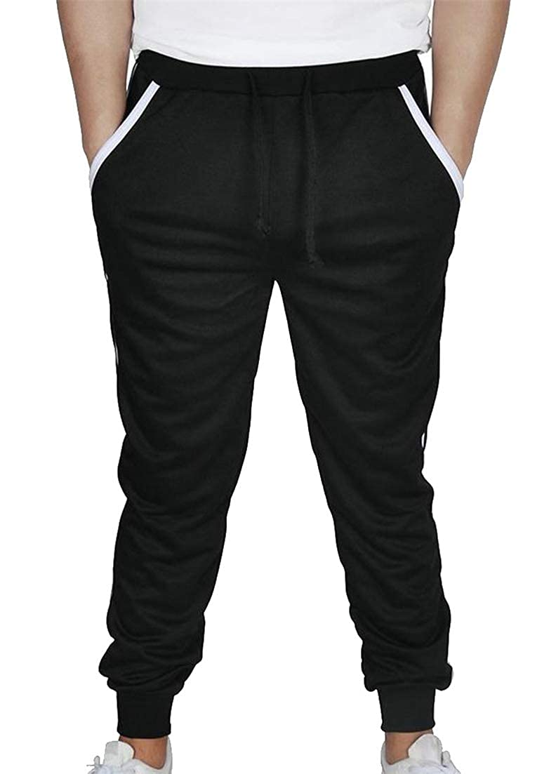 Hajotrawa Mens Solid Color Mid Rise Trousers Drawstring Leisure Jogging Joggers Activewear Pants
