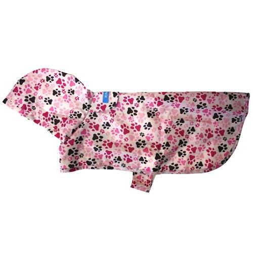 RC Pet Products Packable Dog Rain Poncho, Pitter Patter Pink, Medium