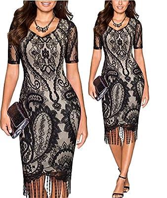Tempt Me Womens Vintage 1920s Lace Crochet Floral Bodycon Fringed Flapper Dress