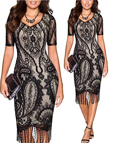 [Tempt Me Womens Vintage 1920s Lace Crochet Floral Bodycon Fringed Flapper Dress Black Medium] (Latin Costumes Dresses)