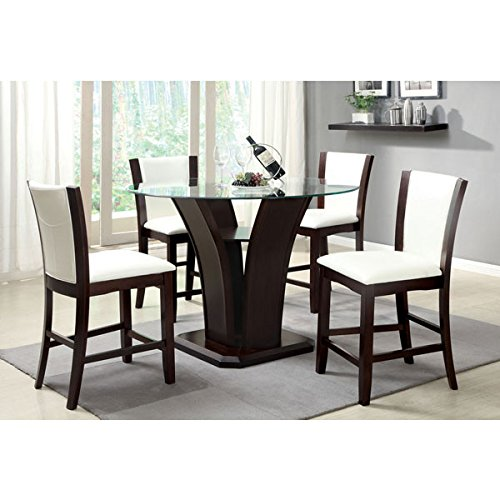 Manhattan Dark Cherry Finish 5-Piece Round Glass Top Ivory White Upholstery Counter Height Dining Table Set