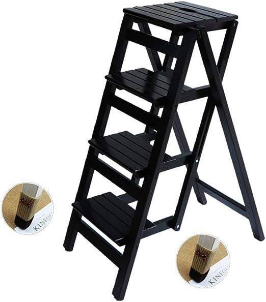 Escalera Plegable Taburete de Madera Maciza de 4 peldaños Escalera ...