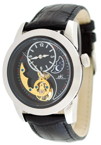 Adee Kaye #AK8025-M1 Men's 3-D Layer Sun Moon Partial Skeleton Automatic Watch