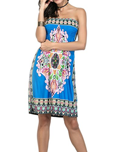 Cover Mini Sapphire Casual Tube Floral Sexyshine Blue Dress Wrapped Summer Vintage up Strapless Bohemian Print Chest Womens Beachwear qwgwFaPx6