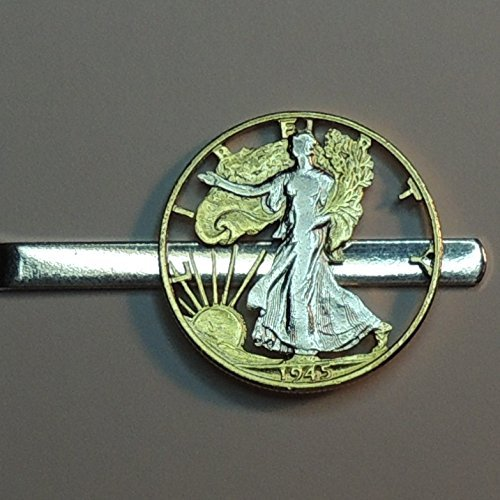 Beautifully (Hand) Cut out & 2-toned Gold & Silver old U.S. Walking Liberty Half Dollar - coin Tie Clip by J&J Coin Jewelry
