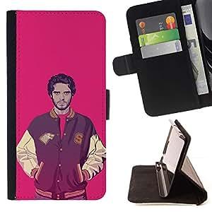 Momo Phone Case / Flip Funda de Cuero Case Cover - Chaqueta Sport Ganster Hombre rosa fuerte Individuo con estilo - Sony Xperia M4 Aqua