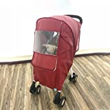 Baby Stroller Windshield Umbrella Rain Cover Thickened To Increase Warm Baby Stroller (wine Red)