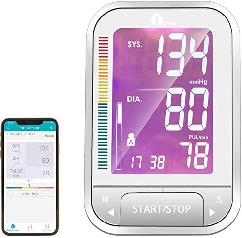 1byone Blood Pressure Monitor, Large Upper Arm Cuff and Bluetooth Digital BP Monitor with Large 4.7 Inch Screen and Free Health Records App (White)