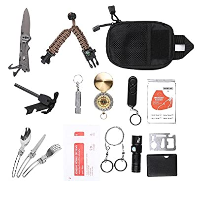 XINSHUO Survival Kit, Personal Protection,16-in-1 Multi-Function Emergency Survival Tool Travel/Outdoor/Hunting/Bike/Car/Gift from XINSHUO
