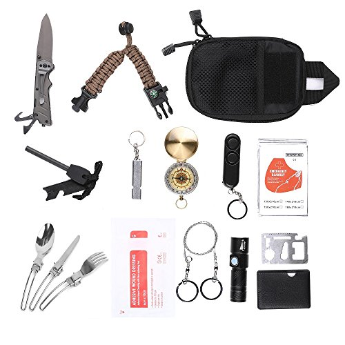 XINSHUO Emergency Survival Kits, 16- in-1 Multifunctional Emergency Survival Tool Travel/Outdoor/Hunting/Cycling/Tactical/Gift/Car by XINSHUO