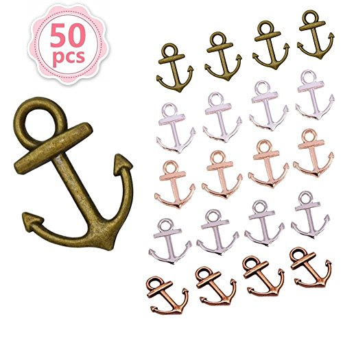 50pcs Anchor Charms Pendant Jewelry Making Accessory Antique Bronze Anchor Nautical Charm Pendant for DIY Crafting 1915mm(5 Clour)