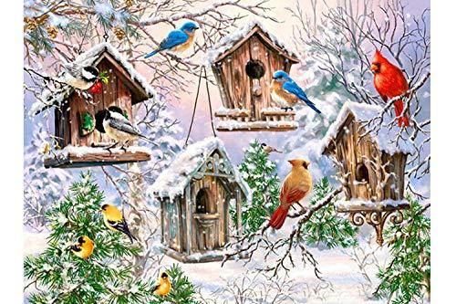 Fundaful 5D Diamond Painting Kits for Adults Full Drill Round Rhinestone Beads Art Paint with Diamonds Cross Stitch Embroidery Set Winter Snow Scenes Cardinals Birds Home Decor