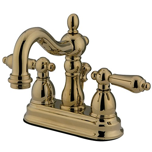 Kingston Brass KB1602ALB Heritage 4-Inch Centerset Lavatory Faucet with Lever Handleand BRS Pop-Up, Polished ()