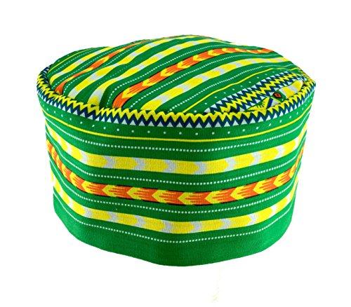 African Hat (Vipada Handmade African Dashiki Hat Kente Pattern Kufi Kofi Hat Cap Style2 (Green))