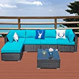 Outdoor Patio Sectional Sofa-6 Piece Rattan Wicker Furniture Set with Blue Cushion (79W X 83L)