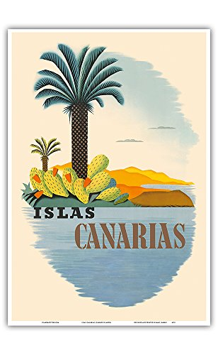 Islas Canarias (Canary Islands) - Palm Trees and Cactus - Vintage World Travel Poster - Master Art Print - 13in x 19in