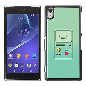 Handheld del juego de la consola verde retro - Metal de aluminio y de plástico duro Caja del teléfono - Negro - Sony Xperia Z2