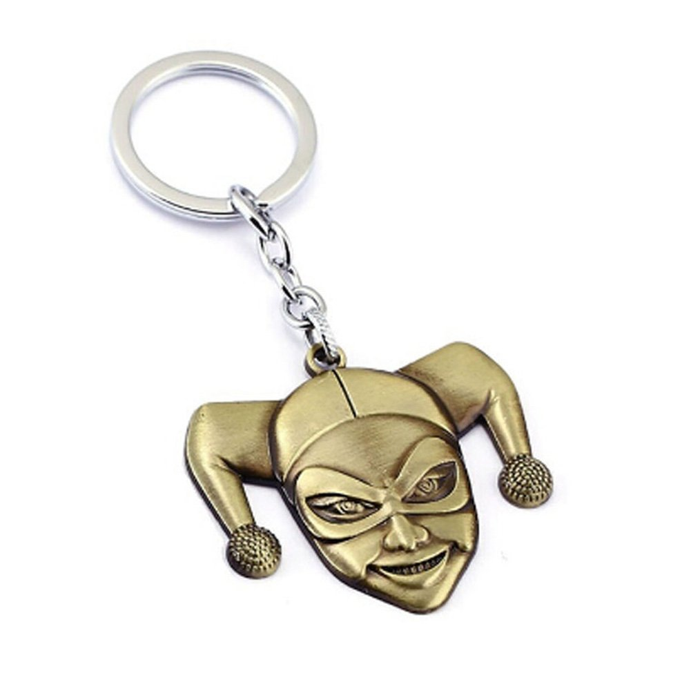 Comic Super Hero Suicide Squad Harley Quinn Face Pendant Keychain Gold