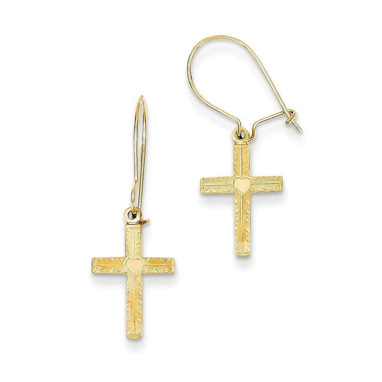 14k Gold Kidney Wire Cross Earrings (1.06 in x 0.39 in)