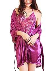 Niyatree Women 2Pcs Set See-through Sexy Lingerie Lady Ice Silk Strappy Robe Sleepwear Gown Bathrobe Pajamas Halter Purple