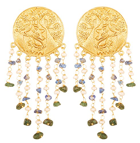 Touchstone Indian Bollywood Pretty Round Embossed And Carved Peacock Theme Bahubali Inspired Designer Jewelry Earrings Hung With Natural Aventurine Lapis And Fresh Water Pearls For Women in Gold (Carved Lapis Ring)