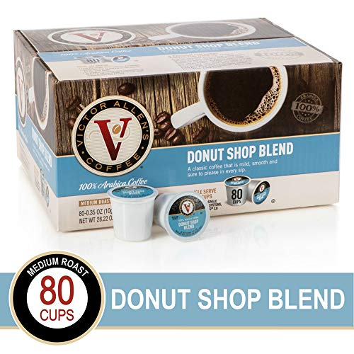 Victor Allen's Coffee Donut Shop, Medium Roast, 80 Count Single Serve Coffee Pods for Keurig K-Cup Brewers