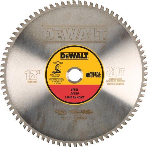 12 Gauge Arbor - DEWALT DWA7740 80 Teeth Light Gauge Ferrous Metal Cutting 1-Inch Arbor, 12-Inch