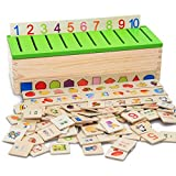 Yimosecoxiang New Popular Children's Toys Montessori Knowledge Classification Box Learn-checkers Wood Box Toy for Children