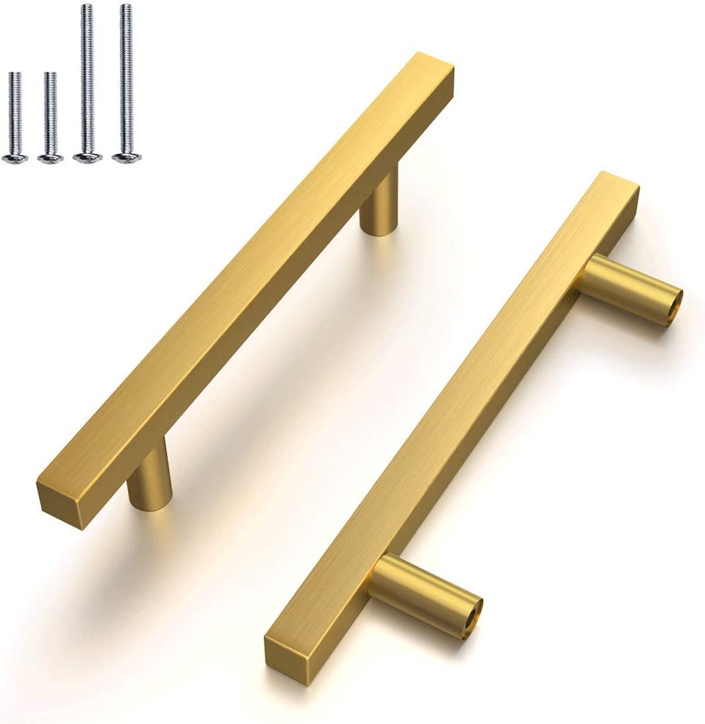 6 Pack-Brushed Brass Drawer Pulls 4