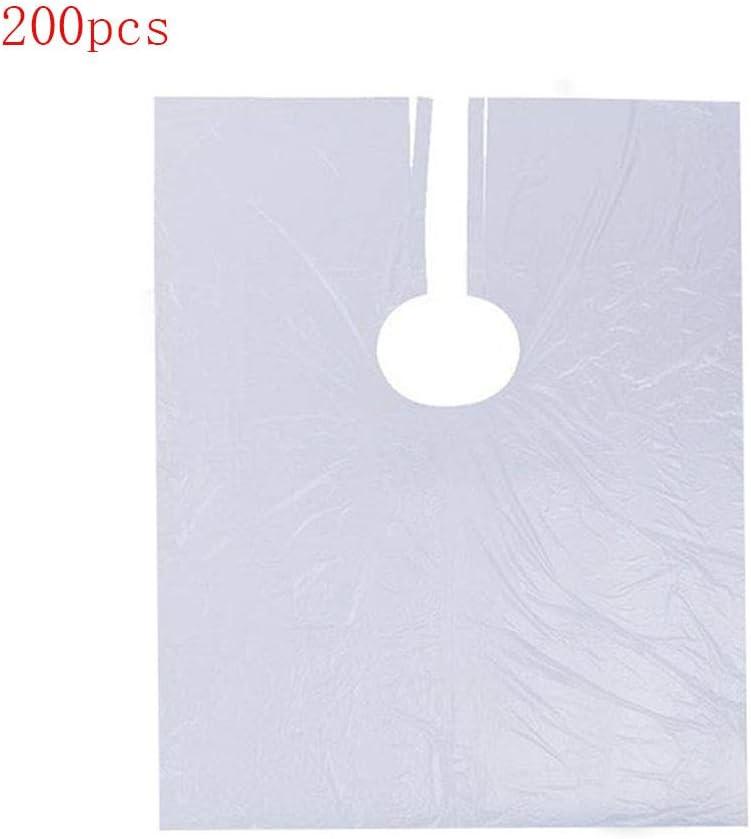 YH 200Pcs Delantal de peluquería desechable Perm teñido Transparente Babero Lavable Corte de Pelo Impermeable Capa para la Herramienta de peluquería de salón en casa