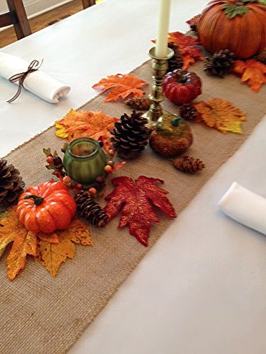 Thanksgiving Tablecloth, Napkins and Decorative Fall Setting, Set Includes White Linens (Natural Burlap Runner)